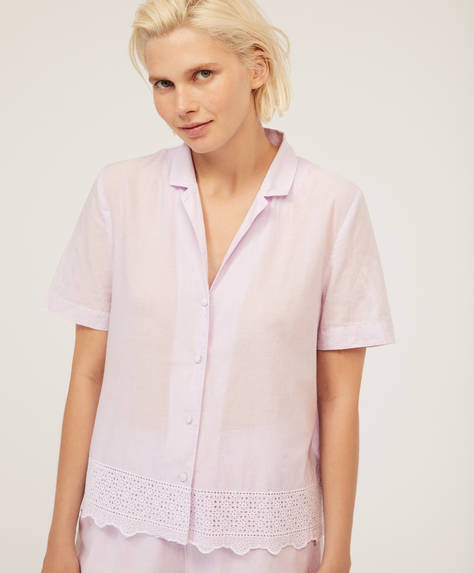 Embroidered lavender shirt