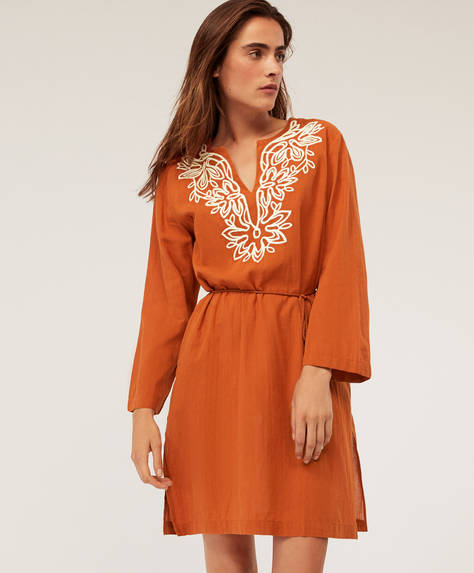 Embroidered midi tunic with puff sleeves
