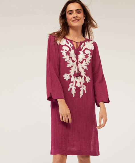 Floral embroidered midi tunic