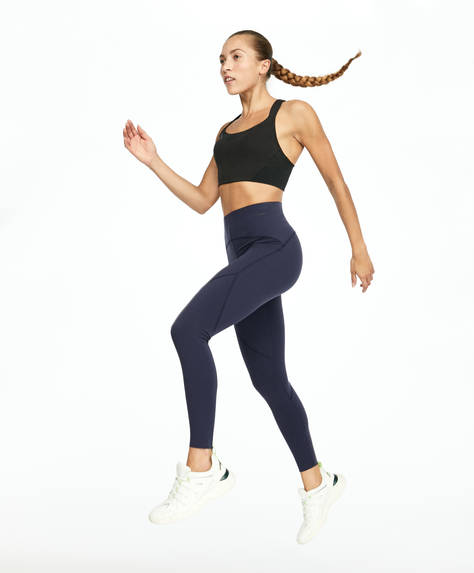 Blue compression leggings