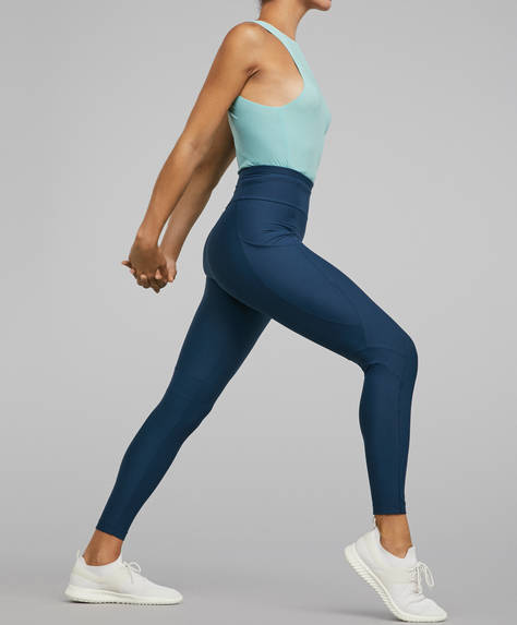 Blue compression leggings with side pockets