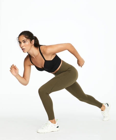 Khaki compression leggings
