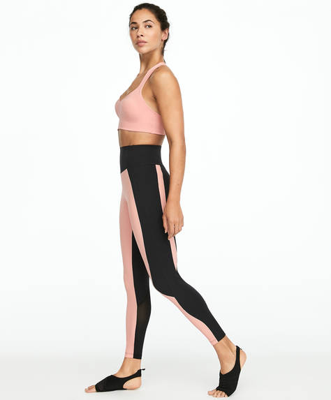 Leggings modellanti con blocchi rosa