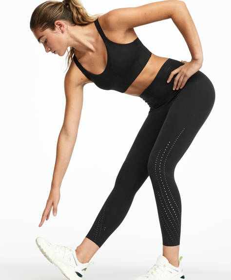Capri compression leggings with laser cut-out