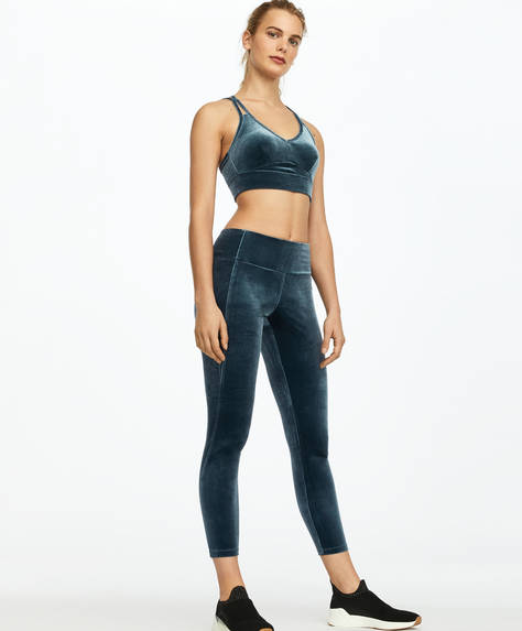 Leggings velvet blu