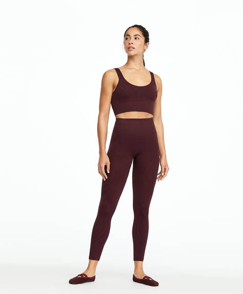 Formende Seamless-Leggings in Burgunderrot