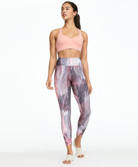 Leggings com estampado de penas de flamingo