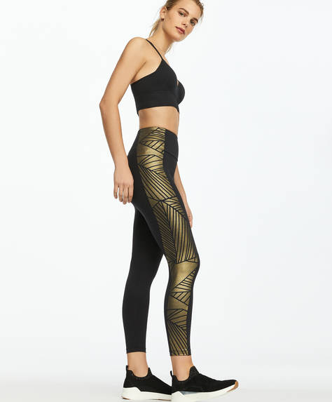 Gold print leggings