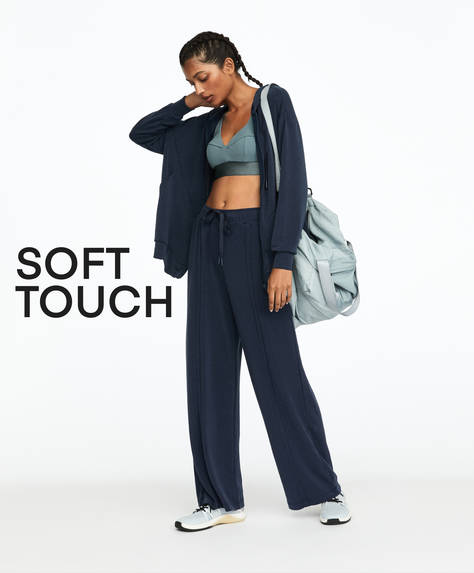 Blue soft feel trousers