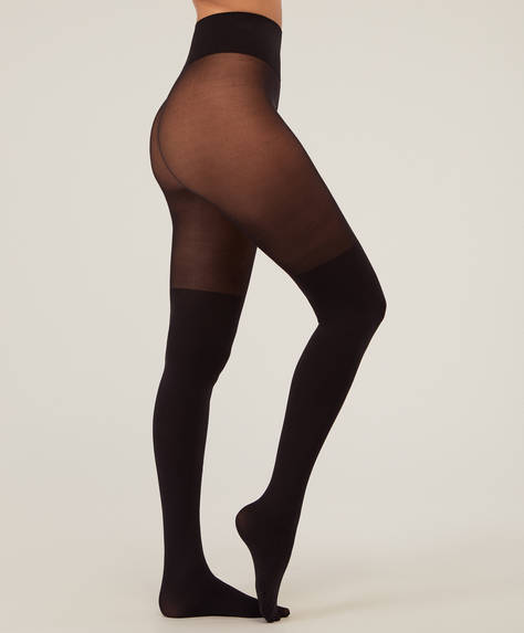 Black tights with over-the-knee effect