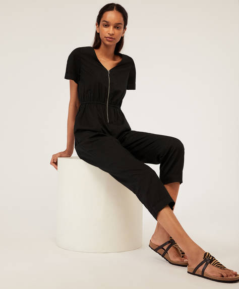 Black zip-up jumpsuit