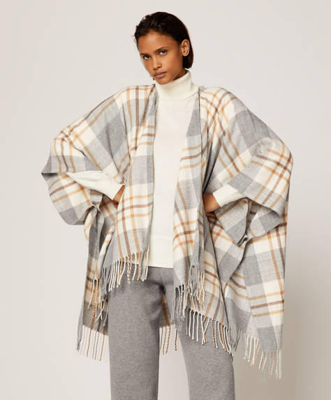 Fringed check poncho