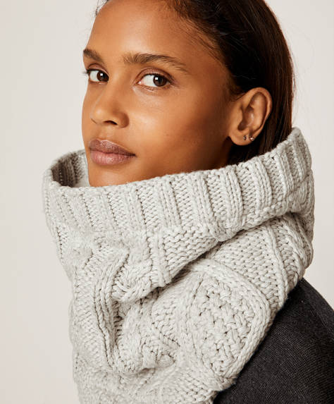 Grey faux-shearling neck warmer
