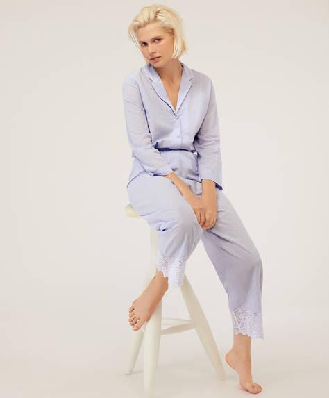 Pantalón azul bordado