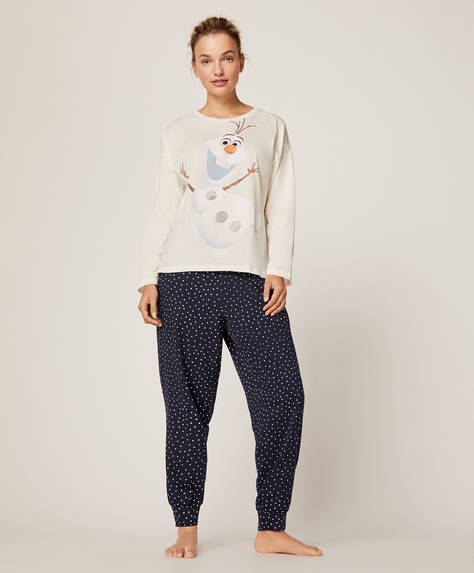 White polka dot trousers