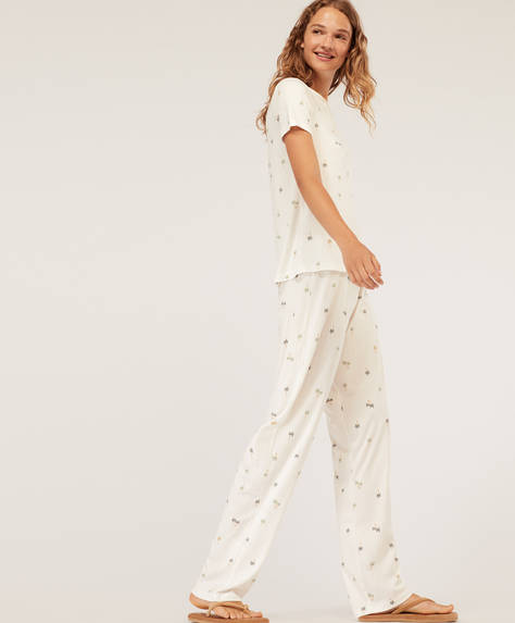 Pantalon long à imprimé tropical