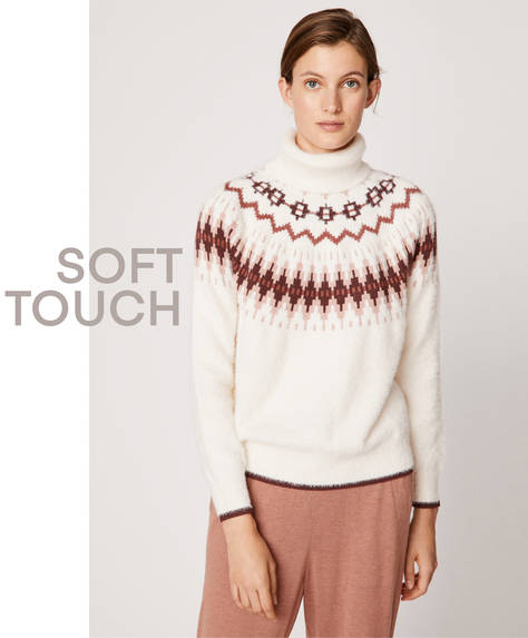 Fuzzy jacquard soft touch jumper