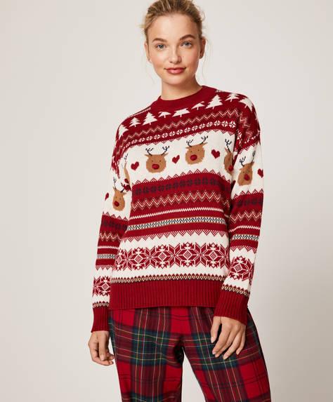 Jacquard reindeer pattern jumper
