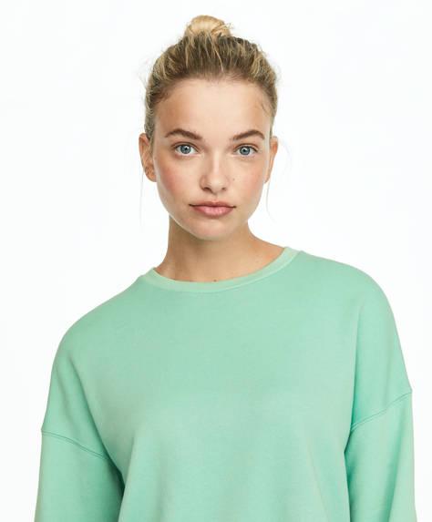 Mintgrøn sweatshirt i 100% bomuld