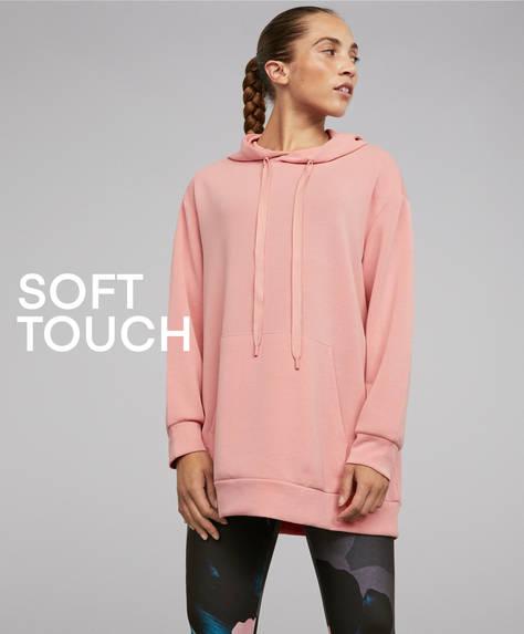 Lyserød sweatshirt i soft-touch stof