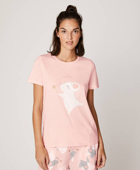 Mouse with wand short-sleeved T-shirt