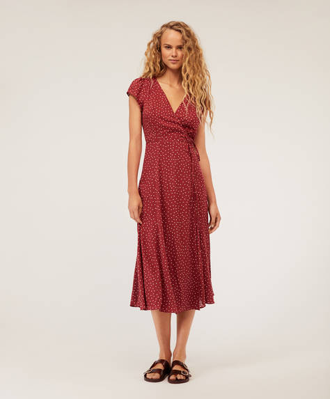 Polka dot crossover midi dress
