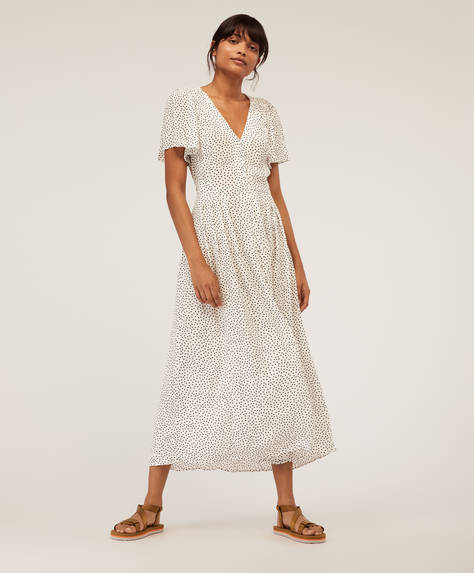 Long white dotty dress