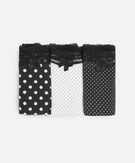 3 polka dot thongs with lace