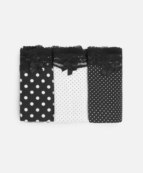 3 polka dot classic briefs with lace
