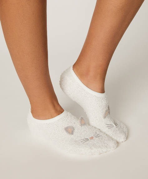 Pack of 2 pairs of fluffy cat and mouse footsies