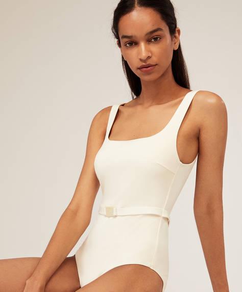 Belted vanilla swimsuit