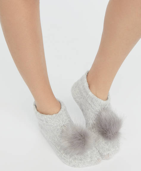 Fleece footsies with pomp-pom detail