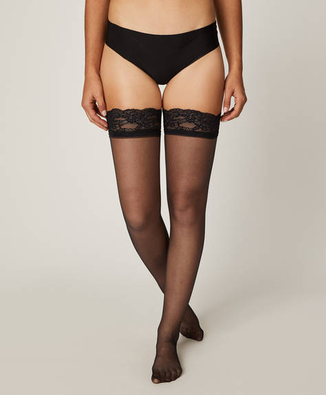 15 denier black lace stockings