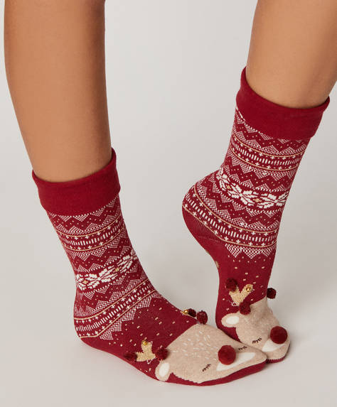 1 pair of fleece reindeer socks