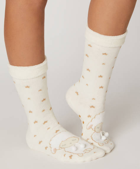 1 pair of fleece sheep socks.