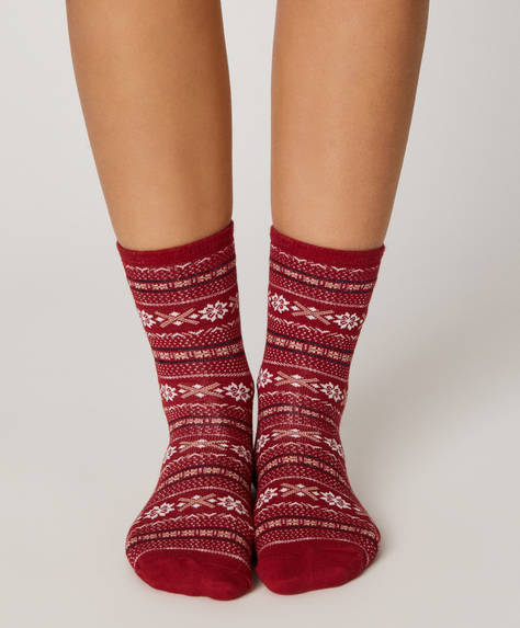 3 pairs of long reindeer socks