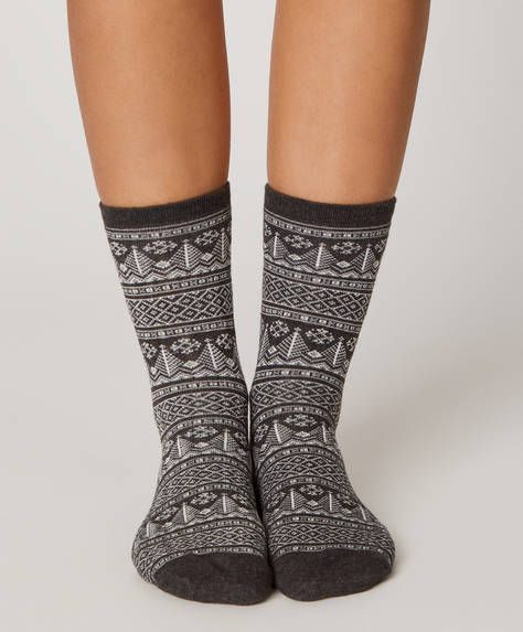 1 pair of jacquard socks
