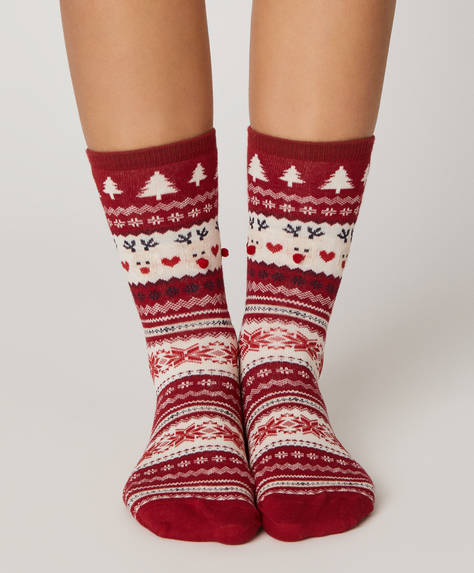 1 pair of reindeer jacquard socks