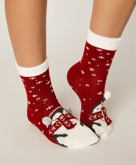 1 pair of Christmas penguin socks