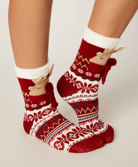 1 pair of Christmas reindeer socks