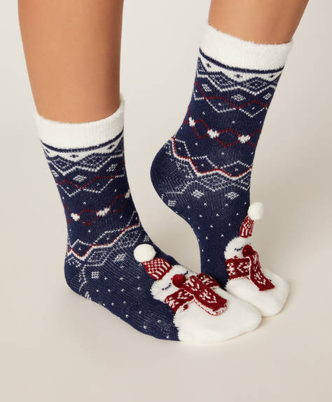 1 pair of snowman socks