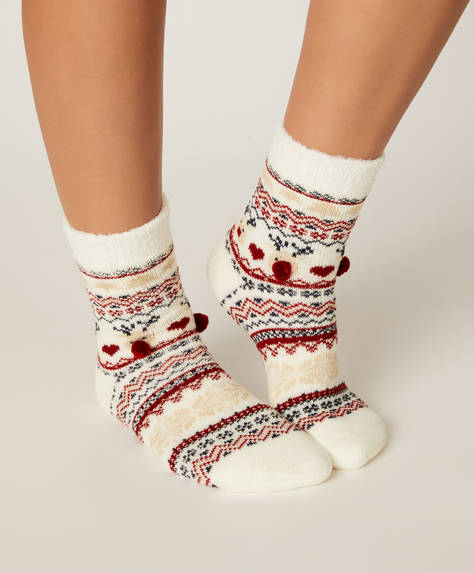 1 pair of Christmas jacquard socks