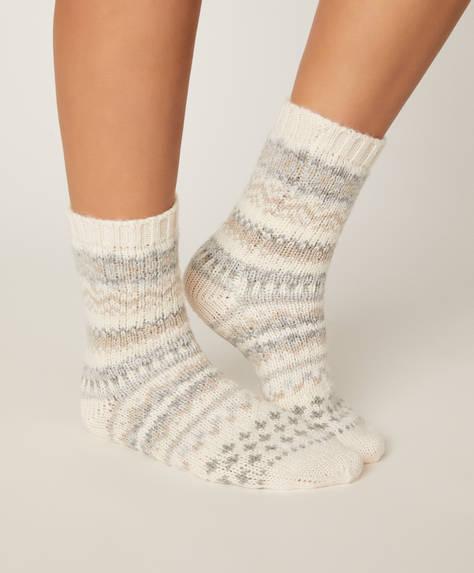 1 par de calcetines jacquard neutros