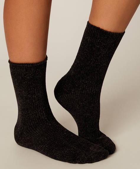 1 Paar einfarbige Chenille-Socken
