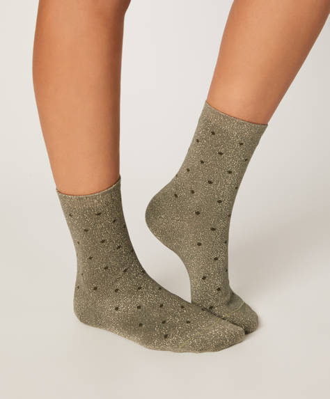 1 pair of metallic thread polka dot socks