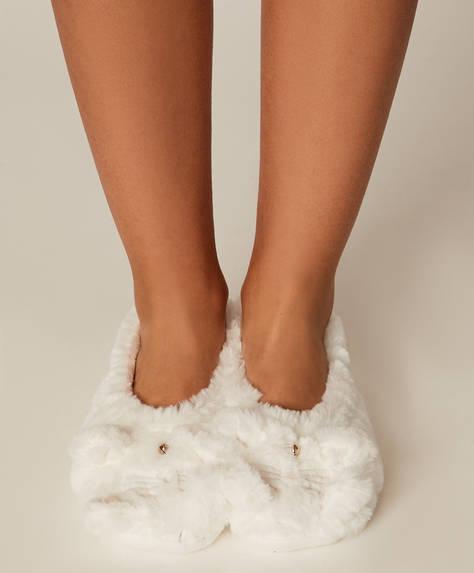 1 paire de chaussettes-pantoufles chat