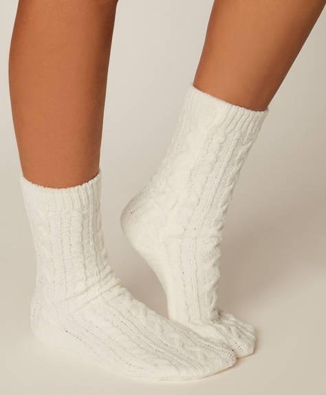 1 Paar graue Chenille-Socken
