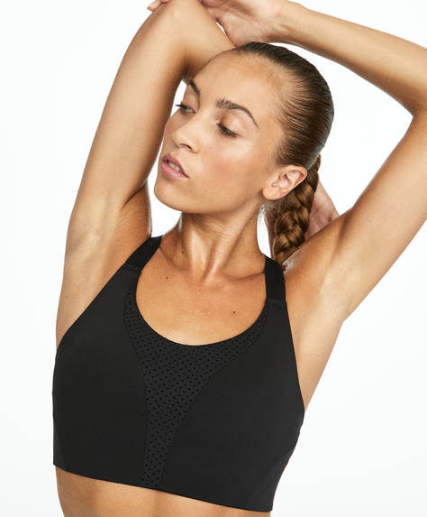Laser cut-out sports bra