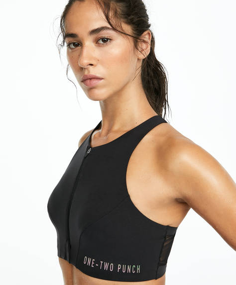 Zip-up sports bra