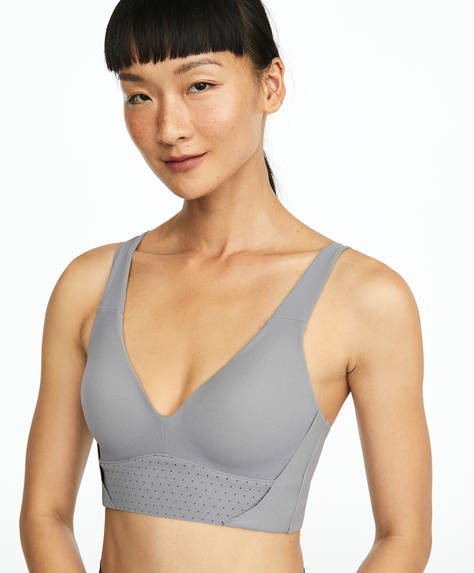 Grey mesh sports bra